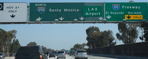 Vejskilt,Santa Monica,LAX,Freeway