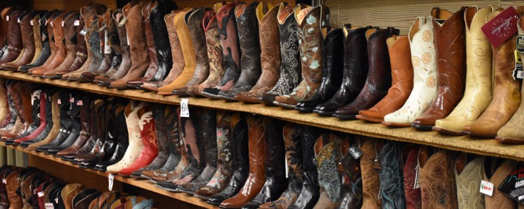 Cowboy boots,on,display