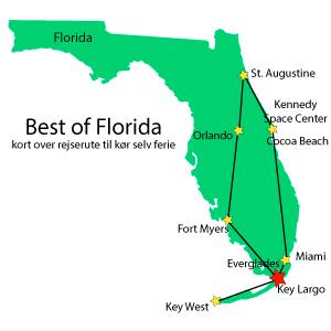 Best of Florida - Everglades - kort over rejserute til kør selv ferie - OnTheRoadUSA.com