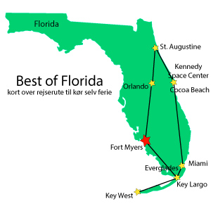 Kort,Rejserute,Fort Myers,Best of Florida