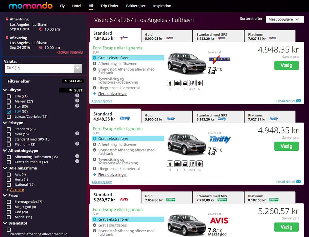 Skærmprint fra momondo.dk der viser SUV priser i Los Angeles