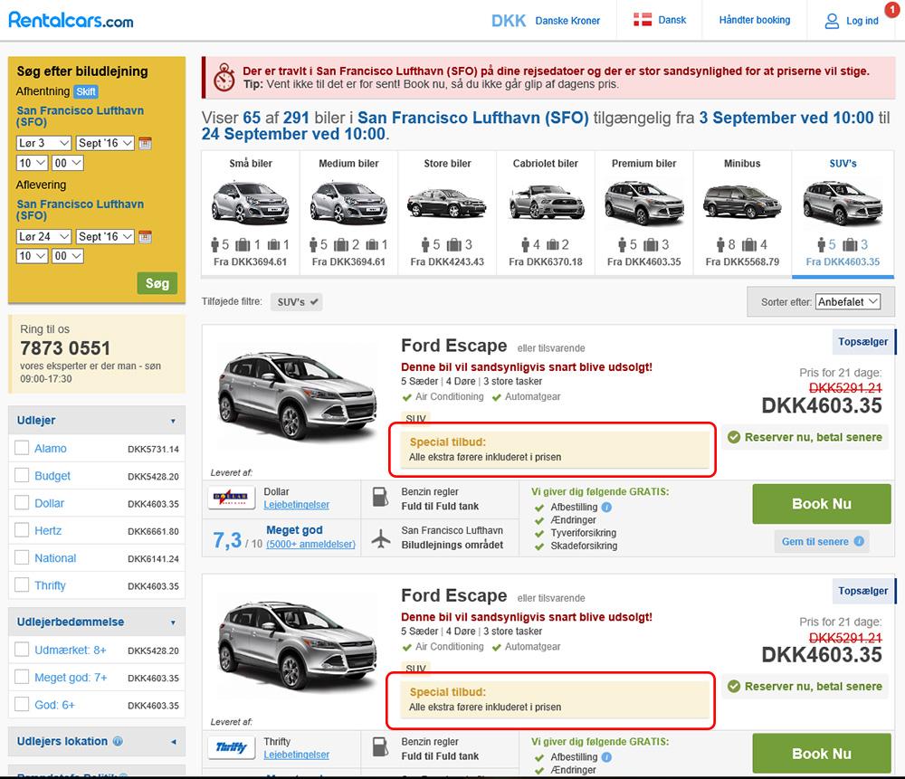 Skærmprint,Rentalcars,Billeje,SUV,Special tilbud