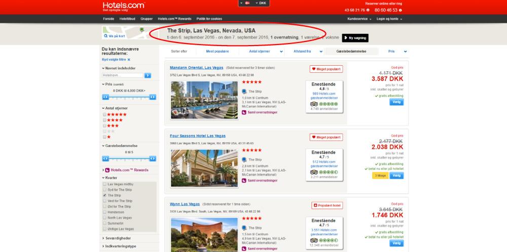 Skærmprint,Hotels,Ledige hoteller,The Strip