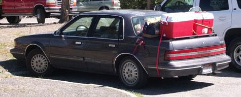Bil,Overlæsset,Bagage,Køletasker