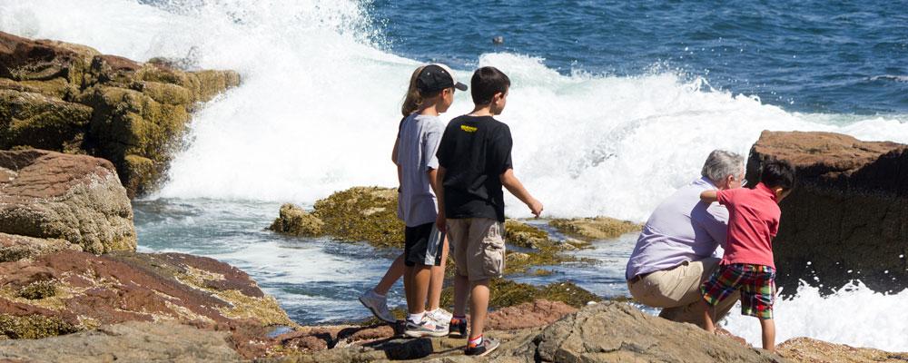 Børn,Hav,Bølger,Klipper,Sommer