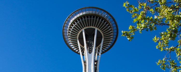 Space Needle,Seattle,Blå himmel,Blade