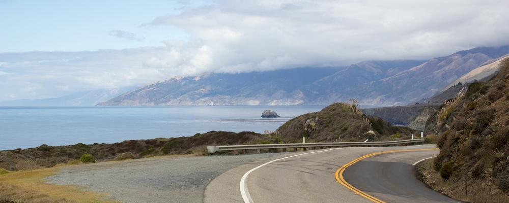Big Sur,Udsigt,Stillehav,Vej drejer,Skyer