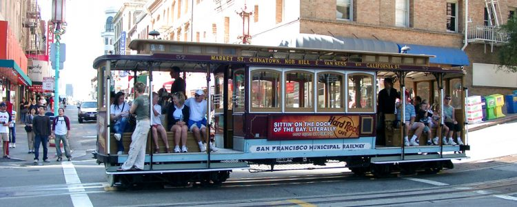 Cable Car,Sporvogn,San Francisco,Passagere,Solskin,China Town