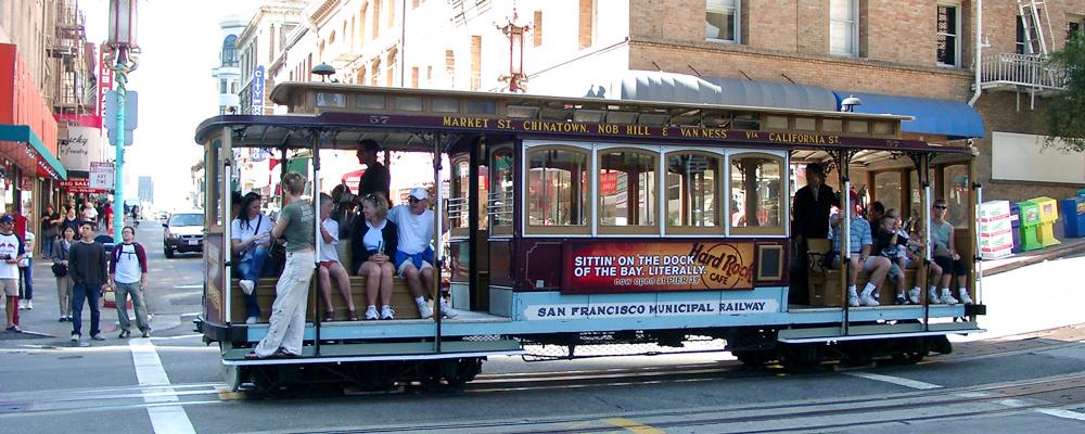 Cable Car,Sporvogn,San Francisco,Passagere,Solskin,China Town