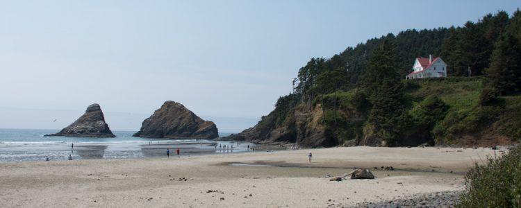 Hus,Klipper,Strand,Mennesker,Sand,Vand,Heceta Head Lighthouse,Oregon