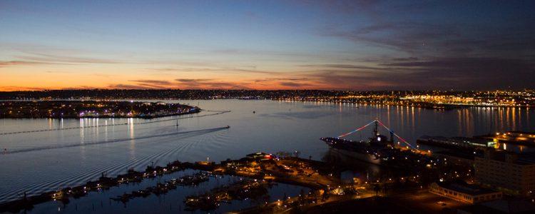 Hangarskib Midway,San Diego bugten,Aftensol,Vand,Lys