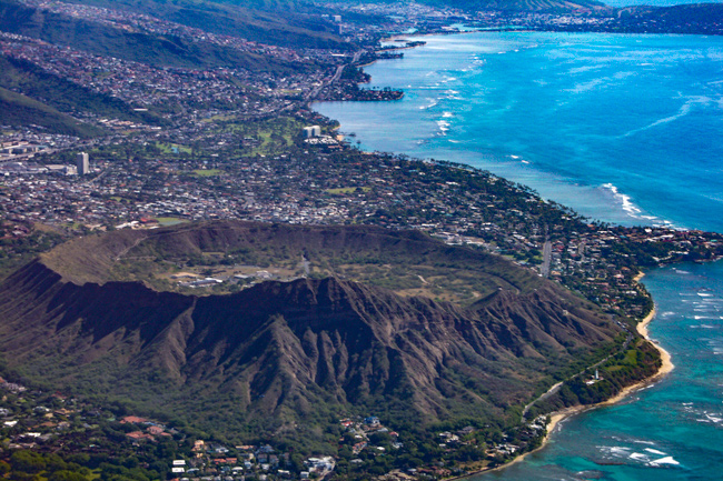 Diamond Head,Luften,Hawaii,Vulkankrater,Honolulu