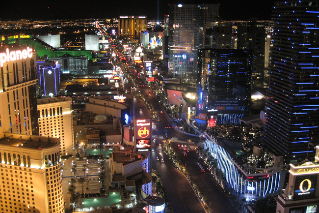The Strip,Las Vegas,Aften,Oppefra,Lys,Hoteller
