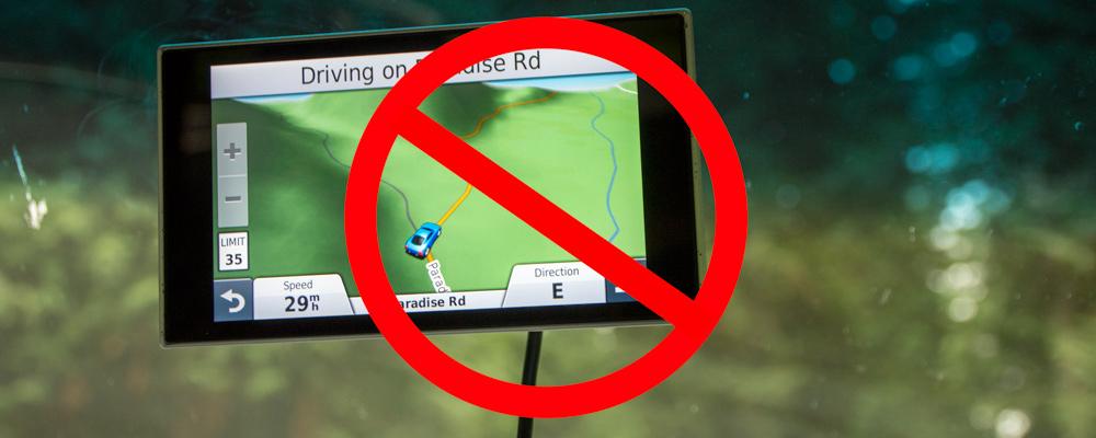 GPS,Billede,Forbud,Forrude,Paradise Road