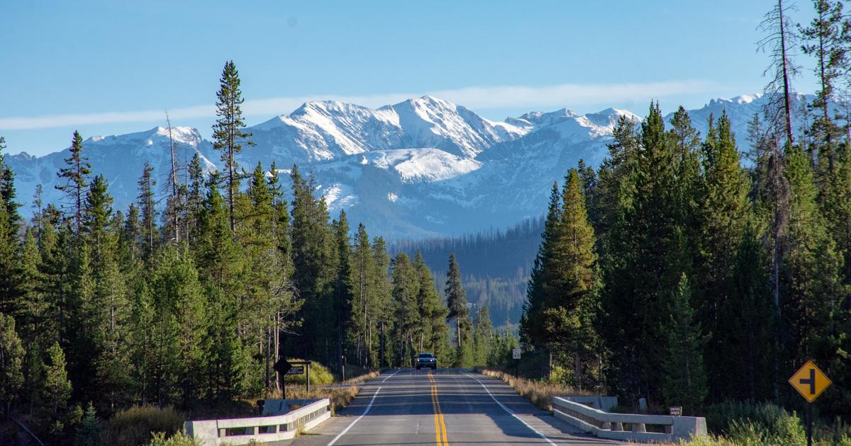Sne,Bjerge,Vej,Bil,Grand Teton